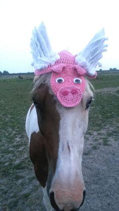 Flying Pig Horse Ear Bonnet Fly Veil by CreativeSeaHorse on Etsy