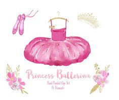 I loved painting this ballerina themed set, featuring pink watercolor flowers, dress and shoes, with gold glitter details, foliage and accessories! This clip art pack is perfect for invitations, wall art, stationary, scrapbooks, stickers, planners, blogs, branding and more! You