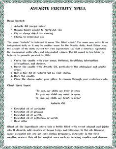 Astarte Fertility Spell Created by Moonlight Musings https://www.facebook.com/pages/Moonlight-Musings/255513267917738
