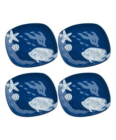 Look what I found on #zulily! Cobalt Shoreline Salad Plate - Set of Four by Global Amici #zulilyfinds