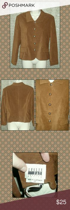 """STYLISH BLAZER Cute super soft blazer by Leslie Fay 97%. Polyester and 3% spandex. Shoulder pads. Excellent condition!!! Stylish gold buttons down the from. 22"""" in length and 22"""" sleeves. Size is 10p. Leslie Fay Jackets & Coats Blazers"""