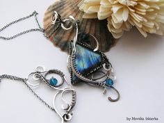 Tressa- wire wrapped necklace, labradorite, sterling and fine silver, handmade