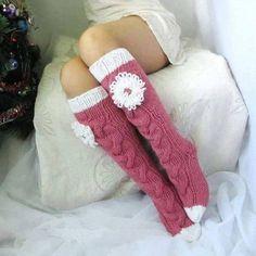 Long pink socks Long socks with a flower Hand knit socks Hand made socks Wool so. Long pink socks Long socks with a flower Hand knit socks Hand made socks Wool socks Warm winter sock. Crochet Socks, Love Crochet, Knitting Socks, Hand Knitting, Knitting Patterns, Knit Crochet, Holiday Socks, Cozy Socks, Pink Socks