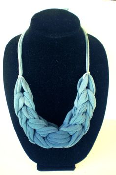 Jersey Necklace, Blue Ombre Knotted Loops, from Up-Cycled T-Shirts, $12.00. @beccajcampbell