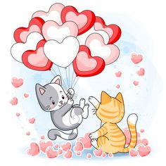 Happy Valentines Day Pictures, Valentines Day Drawing, Cute Couple Cartoon, Cute Cartoon, Scrapbooking Image, Islamic Cartoon, Cute Clipart, Heart Balloons, Kittens Playing