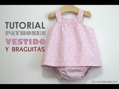 DIY Ropa bebé: vestido y braguita (patrones gratis) - Crochet Sphere Baby Clothes Patterns, Sewing Patterns For Kids, Sewing For Kids, Baby Sewing, Baby Patterns, Clothing Patterns, Free Sewing, Baby Dress Tutorials, Baby Couture
