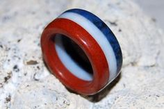 Red, White and Blue Stone ring