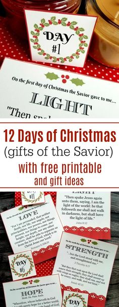 12 days of Christmas (gifts from the Savior) with free printable cards and gift ideas Jamie Cooks It Up – … Twelve Days Of Christmas, Diy Christmas Cards, Homemade Christmas Gifts, All Things Christmas, Handmade Christmas, Christmas Holidays, Christmas Ideas, Christmas Crafts, Xmas
