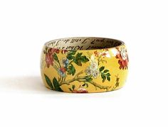 Yellow wood bangle bracelet Large size Floral bracelet Kimono print Painted Decoupage wooden bracelet Unique jewelry Gift for her