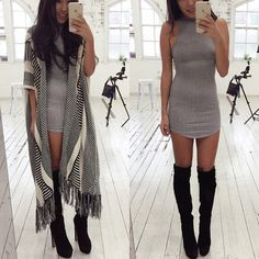 Look boho chic com botas botas over the knee e poncho Mode Outfits, Dress Outfits, Fall Outfits, Dress Up, Bodycon Dress, Fashion Outfits, Womens Fashion, Kimono Dress, Gray Dress Outfit