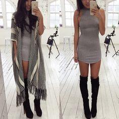 dailychic | kimono + dress + over the knee boots
