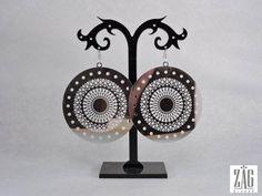Boucles d'oreilles Zag en acier inoxydable disque miroir