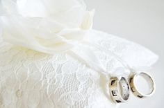 handmade wedding ring pillow ivory satin wrapped ivory by sestras, $33.90