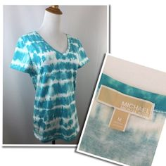 "Michael Kors SZ M Blue White Tie Dye Shirt/Top Good/Great pre-owned condition. Size M. Blue and white tie dye print. Material: cotton & spandex. Approx measurements taken with item laying flat-no stretching-on one side. Bust: 18"". Length: 23-23.5"". Sleeve: 6.5"". Shoulder: 14.5"" MICHAEL Michael Kors Tops Tees - Short Sleeve"