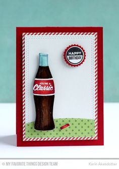 Soda Pop, Bottlecaps Die-namics, Double Stitched Rectangle STAX Die-namics, Soda Pop Bottles Die-namics, Stitched Basic Edges Die-namics - Karin Åkesdotter #mftstamps
