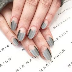 102 Easy Gel Polish Nail Art Ideas for Spring 2019 Gel polish nail art varnish has long been considered the most optimal option for nail designs. In our article, we selected the best new nail art with gel polish. Tips of stylists of nail art, as well . Nail Polish Trends, Nail Trends, Gel Polish, Grey Nail Art, Grey Art, Negative Space Nails, Nagellack Design, Minimalist Nails, Super Nails