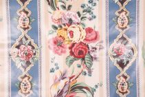 Waverly Floral Stripe Printed Polished Cotton Drapery Fabric in Wedgwood $5.95 per yard