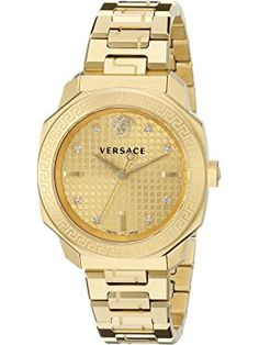 Versace Women's VQD060015 Dylos Analog Display Swiss Quartz Gold-Plated Watch ❤ First SBF Holding Inc.