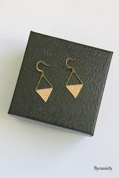 boucle d'oreilles géométrique perles miyuki - bronze/dorée