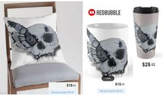 'Transformation' Skull Moth Throw Pillow, Mug and Travel Mug #artbyurte