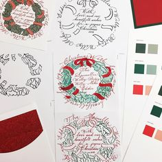 From sketch to color tests, it's all about the process #wip #holidaycards