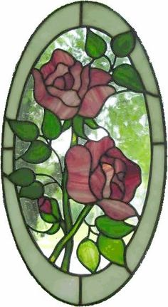 roses in oval
