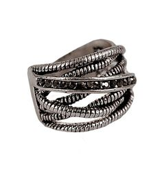 Crossover Textured Multi Band Ring
