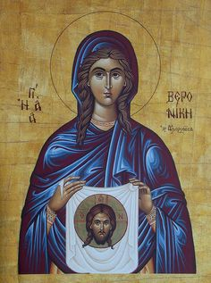 According to tradition, Righteous Veronica (Bernice) was healed from her issue of blood by touching the hem of the Lord's garment (Matthew 9: 20-22). When the Lord went to Crucifixion, she gave Him a veil to wipe His face, and after doing so His face remained imprinted on it. She is celebrated July 12.