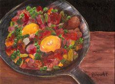 Eggs Veggies Meat Fry Pan Original Food Art #Painting 9x12 Acrylic Penny StewArt #Realism