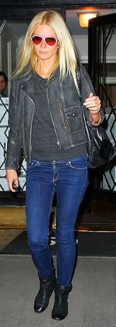 Gwyneth Paltrow in MiH Jeans Biker Jacket.  Shop the jacket: http://us.mih-jeans.com/mih-collection/the-biker-jacket-black-leather.html