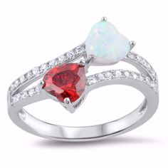 Sterling Silver CZ Lab White Opal Simulated Garnet Two Hearts Ring