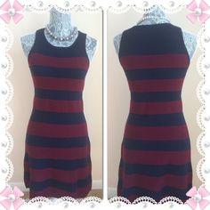 Polished & Preppy HPStriped LOFT sweater dress Maroon & navy sleeveless sweater dress. NWT. Length is 35 inches. 46% acrylic 45%wool 8% nylon 1% spandex LOFT Dresses