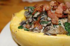 Paleo AIP Chicken, Bacon and Mushroom Alfredo Spaghetti Squash. Looks great! #autoimmune #coconut #spinach