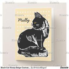 Black Cat Honey Beige Custom Pocket Folder Sets; ArtisanAbigail at Zazzle