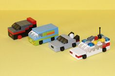 Ectomobile, DeLorean, Mystery Machine & A Team - LEGO Mini Cars by madoruk, via Flickr