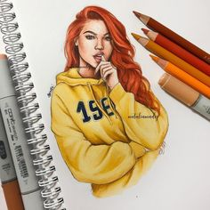 Commissioned piece ✨I had so much fun doing this illustration! Girly Drawings, Pencil Art Drawings, Cool Art Drawings, Realistic Drawings, Tumblr Girl Drawing, Girl Drawing Sketches, Black Girl Art, Fashion Design Drawings, Color Pencil Art