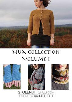 Stolen Stitches Nua Collection Volume 1 - Designs by Carol Feller Fingerless Mitts, Digital Pattern, Cardigans For Women, Arm Warmers, Pattern Design, Chevron, Men Sweater, Brand New, Knitting