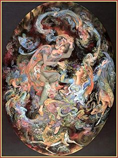 Mahmoud Farshchian: Forging The Bond Of Love, Persian Miniature Art Print Victorian Paintings, Beautiful Dark Art, Wood Carving Designs, Iranian Art, Decoupage, Fantastic Art, Art Prints, Poster Prints, Portrait Art