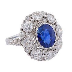 Sapphire & Diamond Cluster Ring by Buccellati