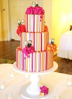 middle layer - red, yellow, pink stripes