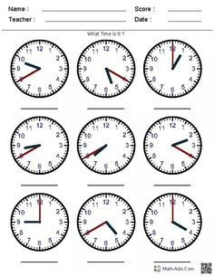 Looking for a Worksheets Telling Time. We have Worksheets Telling Time and the other about Benderos Printable Math it free. Teaching Clock, Teaching Time, Teaching Math, Learning Time Clock, Clock Worksheets, Printable Math Worksheets, Grade 3 Math Worksheets, Printables, Math Resources