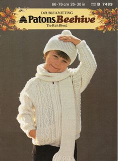 PDF Instant Download  1980s Childs/Kids Aran Zipper by Hobohooks, £1.20
