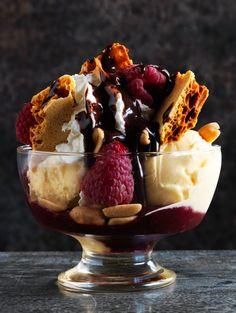Lotus Ice Cream Sundae with Raspberries and Honeycomb