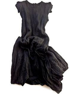 Metallic Linen Cap Sleeved Dress  // Mandula #black #dress #style