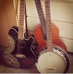 Ibanez electro acoustic, banjitar and classic wooden acoustic guitars