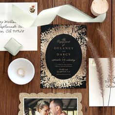 """PhotoAffections on Instagram: """"It's #friyay and we're in love with these dazzling #engagementinvites. 💍💖 Set the tone for your all your festivities with our customizable…"""" Gold Weddings, Real Weddings, Different Wedding Ideas, Wedding Stationery Inspiration, Gold Wedding Invitations, Engagement, Love, Instagram, Amor"""