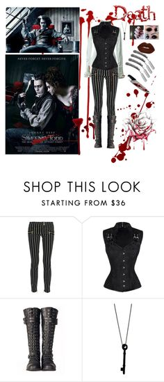 """""""Female Sweeney Todd"""" by x-shadow-phoenix-x ❤ liked on Polyvore featuring Fleet Street, Balmain, Retrò, Alex and Chloe and Lime Crime"""