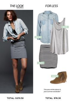 Look for Less: Transition to Summer. Black and white striped skirt with boots.