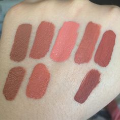 #mulpix Some swatch comparisons of the new Colourpop peaches vs Kylie lip kit lipsticks. Top row is Colourpop Autocorrect, Airplane Mode, Double Tap, Screenshot, and Speed Dial. Autocorrect is similar to Exposed (bottom row, left). Speed Dial is in the same family as Ginger (bottom row, right) but lighter. I know lots of people were looking for a dupe for Dirty Peach (bottom row, center). The closest is Airplane Mode, but I wouldn't say they are exact dupes. Hope this helps!