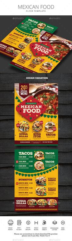 Mexican Food - Food Menus Print Templates Download here : https://graphicriver.net/item/mexican-food/20317263?s_rank=31&ref=Al-fatih #food menu #food menus template #flyer food #design #promotion #template #print templates #restaurant #bifold #trifold #premium design #table tent